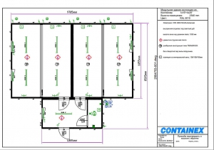 1-этажное модульное быстровозводимое здание контейнерного типа CONTAINEX из  блок модулей проект 14