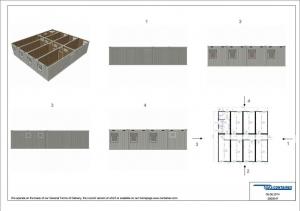 1-этажное модульное быстровозводимое здание контейнерного типа CONTAINEX из 7 офисных и 1 сантехнического блок модулей проект 4
