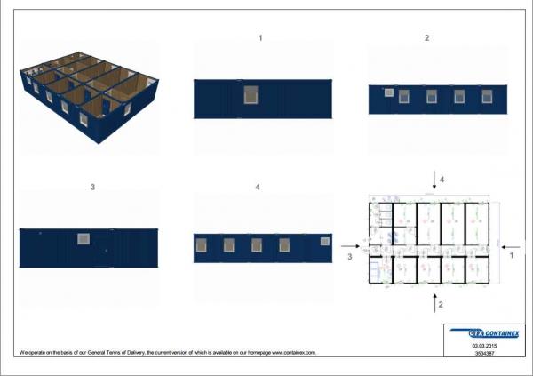 1-этажное модульное быстровозводимое здание контейнерного типа CONTAINEX из  блок модулей проект 17
