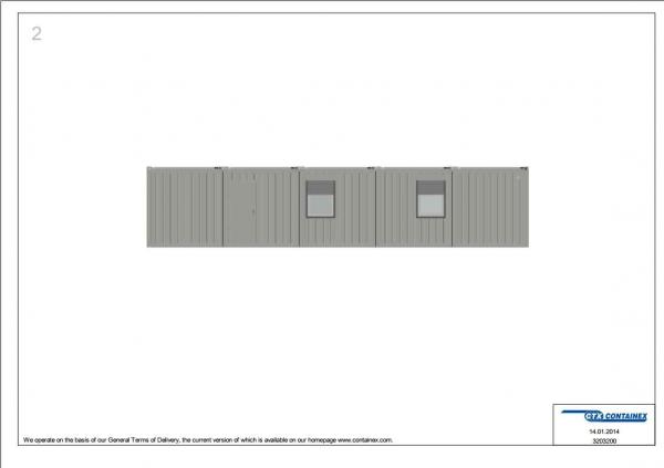 1-этажное модульное быстровозводимое здание контейнерного типа CONTAINEX из 4 офисных и 1 сантехнического блок модулей проект 3